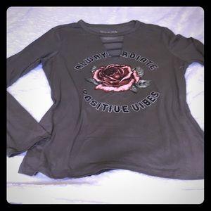 Grey long sleeve shirt rose pattern Sz Xl -15-17